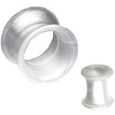 Pearlescent White Silicone Double Flared Tunnels