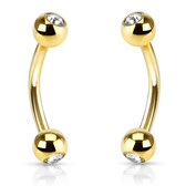PAIR - Gold-Tone IP Double Jeweled Eyebrow Rings