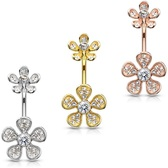 CZ Paved Double Flower Steel Belly Ring