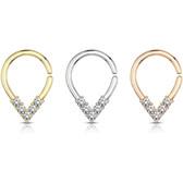 CZ Gemmed Pear Shape  Cartilage/Septum Hoop