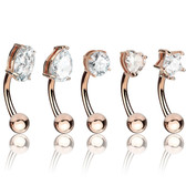 5PC Lot Shaped CZ Top Surgical Steel Eyebrow Rings
