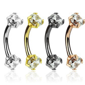 4PC Lot Double Jeweled CZ Steel Eyebrow Rings