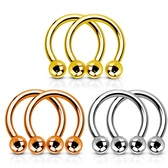 3-Pair Lot(3 Colors) Steel Horseshoe Rings 16G-14G