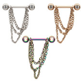 PAIR - Chain Dangles Steel Nipple Ring Barbells