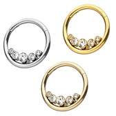 Bezel Set Five CZ Steel Hinged Segment Ring Hoop