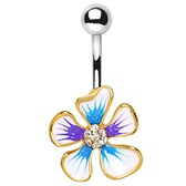 Color Splashed Hibiscus Flower Steel Belly Ring