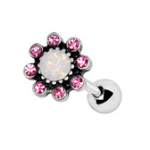 Pink Sparkle Flower Steel Cartilage Tragus Stud 16G