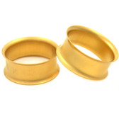 "Gold Plated Matte Double Flared Tunnels (8g-15/16"")"