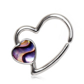 Abalone Heart Bendable Hoop Cartilage/Ear Piercing