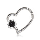 Black Flower Bendable Hoop Cartilage/Ear Piercing