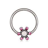 Sparkle Flower Steel CBR Hoop 16G 3/8""