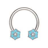 Teal Flowers Steel Horseshoe Ring 16G 3/8""
