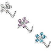 3PC Set Six CZ Flower Top L-Shaped Nose Rings