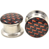 "Black & Red Checker Design Steel Ear Plugs (8g-5/8"")"