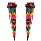 "Tie Dye Print Acrylic Tapers (10g-7/16"")"