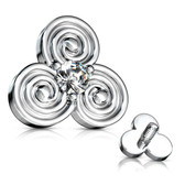 Tribal Swirls CZ Center Dermal Anchor Top