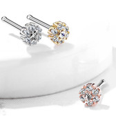 Double Cz Tier Petite Flower Nose Ring Bone Stud 20G