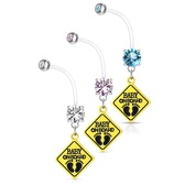 """Baby On Board Sign Flexible Pregnancy Belly Ring 14G 1"""""""