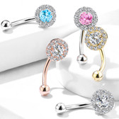 Round CZ Center Gem Edge Eyebrow Ring Curved Barbell