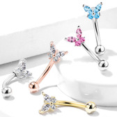 CZ Jeweled Butterfly Eyebrow Ring Curved Barbell