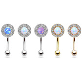 Opalescent Center CZ Edge Eyebrow Ring Curved Barbell