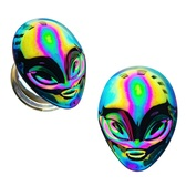 "Oil Slick Rainbow Alien Glass Plugs (2g-5/8"")"