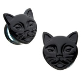 "Black Cat Double Flared Glass Plugs (0g-3/4"")"