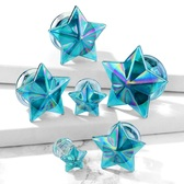 "Blue/Rainbow Glass Faceted Star Plugs (2g-5/8"")"
