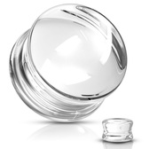 "Clear Glass Convex Double Flared Plugs (2g-5/8"")"