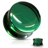 "Dark Green Glass Convex Double Flared Plugs (2g-5/8"")"