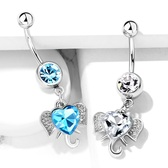 Heart CZ Center Elephant Dangle Steel Belly Ring