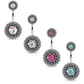 Tribal Shield CZ Center Steel Belly Ring