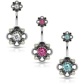 Filigree Flower CZ Center Steel Belly Ring