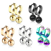 Ball Dangle 3mm Wide Steel Hinge Hoop Earrings