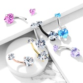 Double Jeweled Heart CZ Steel Belly Ring
