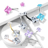 Double Jeweled Square CZ Steel Belly Ring
