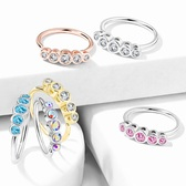 Bezel Set Five-CZ Bendable Hoop