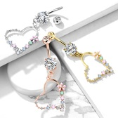 Multi-Color Flowers Heart Dangle Steel Belly Ring