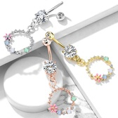 Multi-Color Flower Circle Dangle Steel Belly Ring