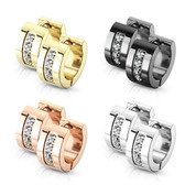 Quad CZ 7mm Wide Steel Hinge Hoop Earrings