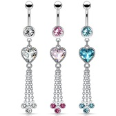 Heart CZ Triple Chain Long Dangle Steel Belly Ring