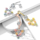 Triangle Flowers Dangle Steel Belly Ring