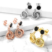 Black Enamel Intertwined Circles Dangle Earrings