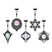 5PC Value Pack Tribal Flowers & Shields Belly Rings