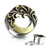 "Tribal Wave Steel/Brass Screw-Fit Tunnels (2g-5/8"")"