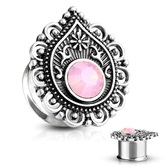 "Pink Filigree Teardrop Steel Double Flared Plugs (2g-5/8"")"