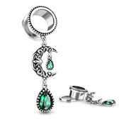"Green Filigree Moon Screw-Fit Dangle Tunnels (2g-5/8"")"