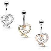 Hollow Heart & Flower Steel Belly Ring