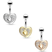 CZ Paved Extra Heart Steel Belly Ring