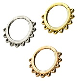 3PC Lot 16G Rounded Spike Hinged Segment Ring Hoops